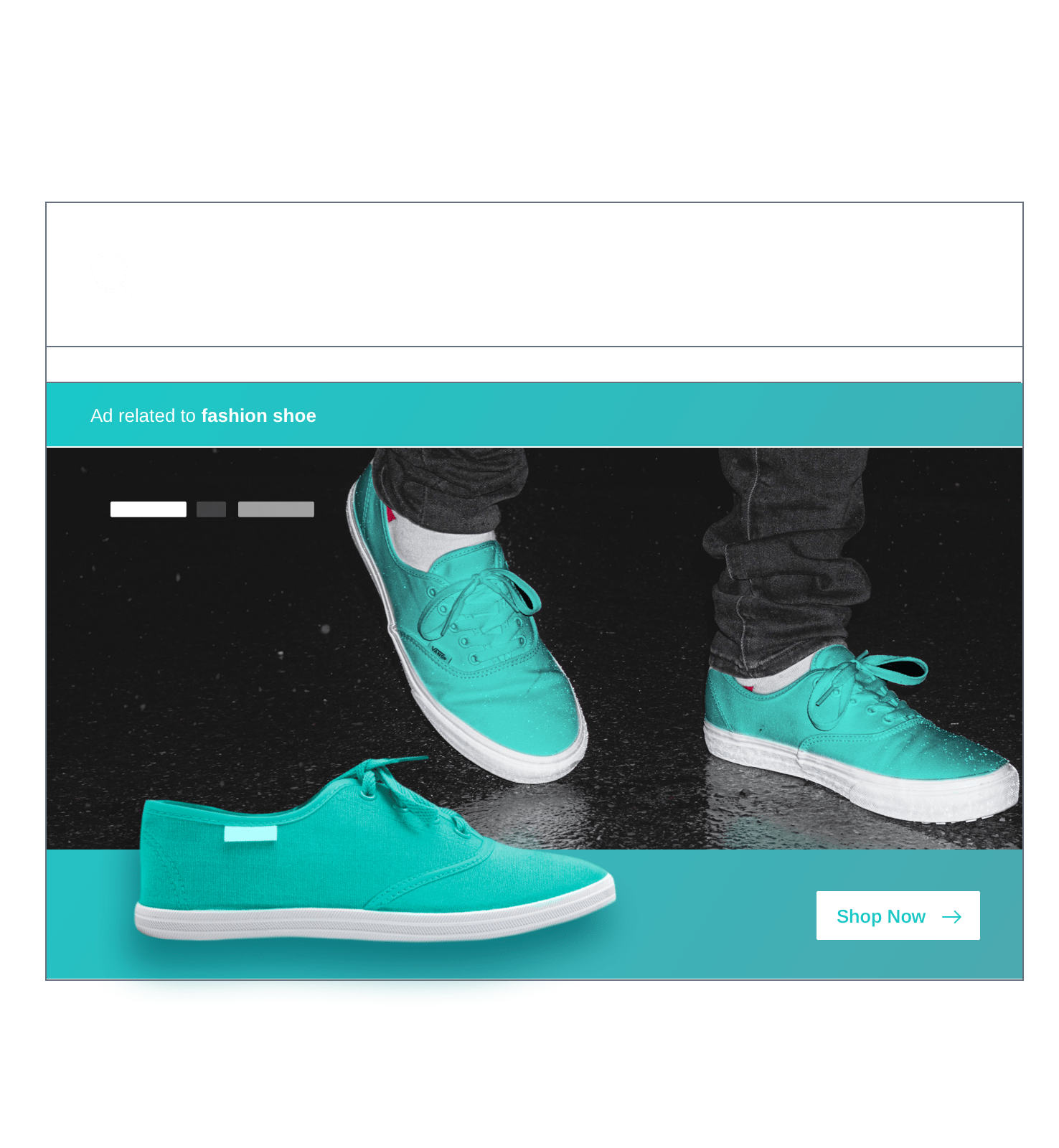 Paid search advertising for a teal sneaker