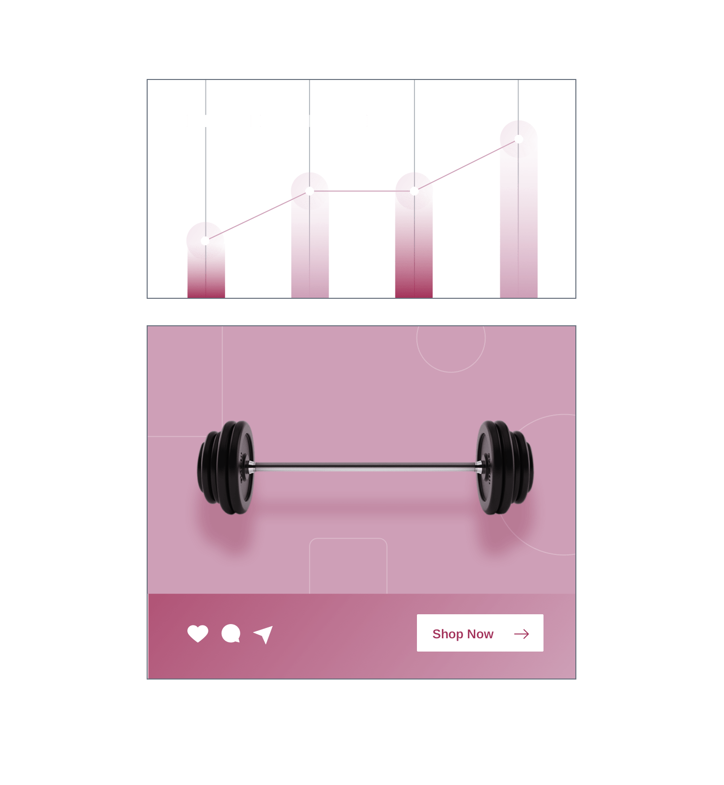 Bar chart and line graph data insights above a sample shopping ad for weights